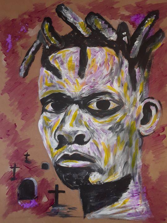 Trying to face death - Simon moshapo Art