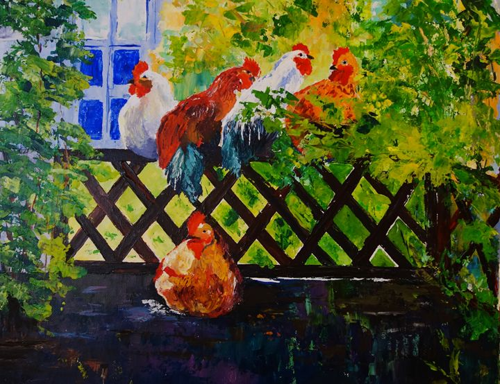Back Fence Hen Party - ART BY VALIA