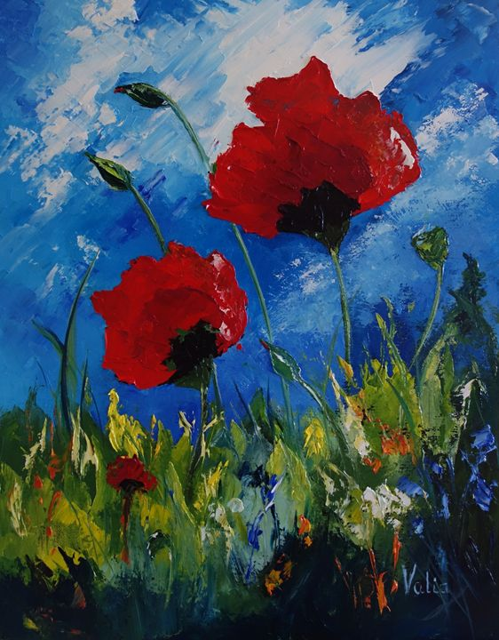 Poppies in the Wind - ART BY VALIA