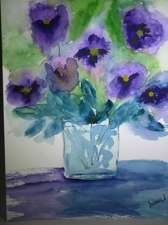 Purple Pansies - Anne's Art Boutique