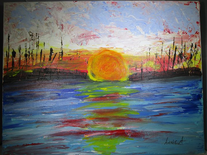 Sunset Over a Lake - Anne's Art Boutique