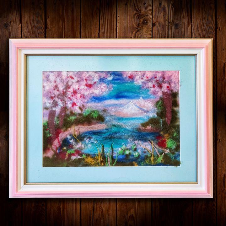 """Sakura Celebration"" wool ""painting"" - Elvira Gatina's Gallery"