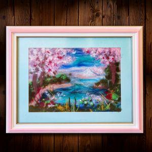 """""""Sakura Celebration"""" wool """"painting"""""""