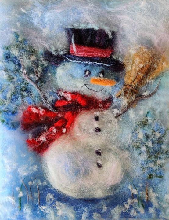 "Handmade wool painting ""Snowman"" - Elvira Gatina's Gallery"