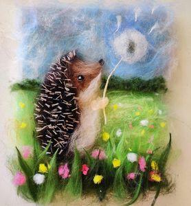 """Handmade wool painting """"Hedgehog"""""""