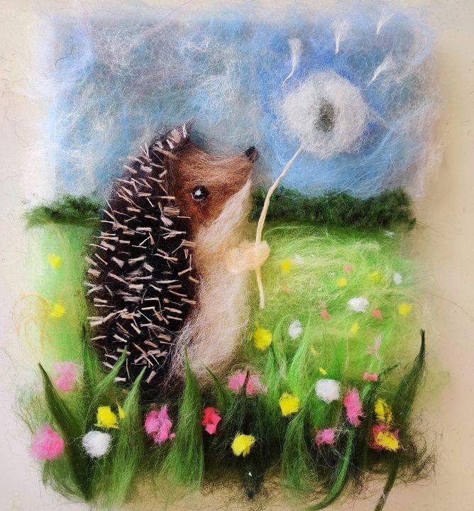 "Handmade wool painting ""Hedgehog"" - Elvira Gatina's Gallery"