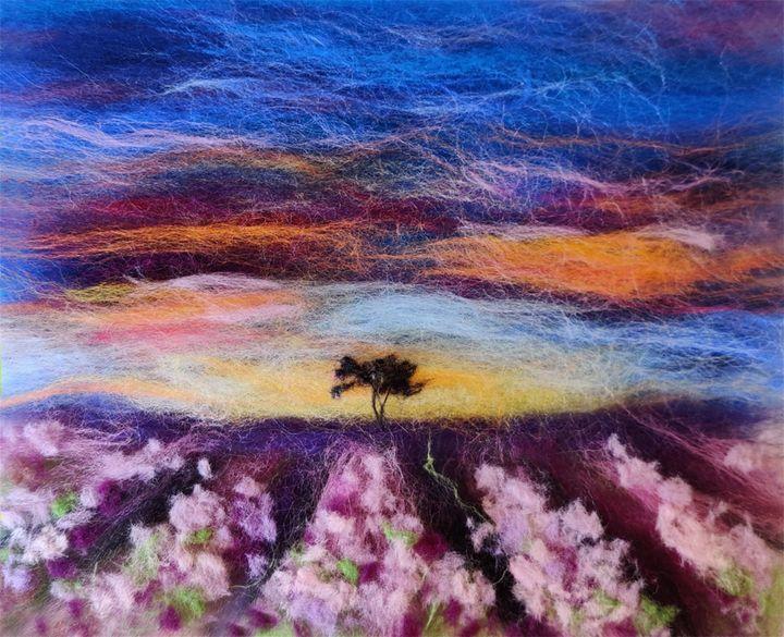 Lavender field wool painting - Elvira Gatina's Gallery