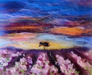 Lavender field wool painting