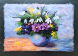 """""""Bouquet"""" Wool painting"""