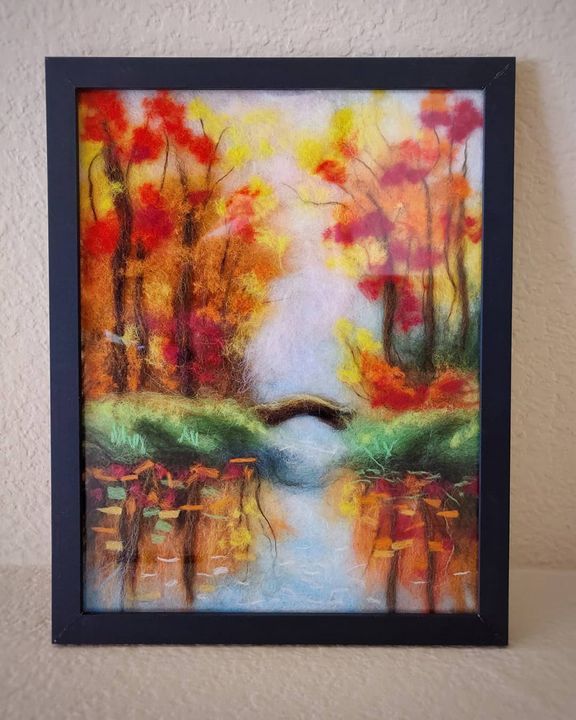 """Wool painting """"Lake in the Forest"""" - Elvira Gatina's Gallery"""