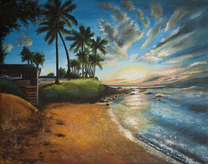 """Hawaii"" Oil on Canvas Painting - Elvira Gatina's Gallery"