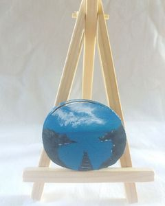 Seascape mini wooden painting