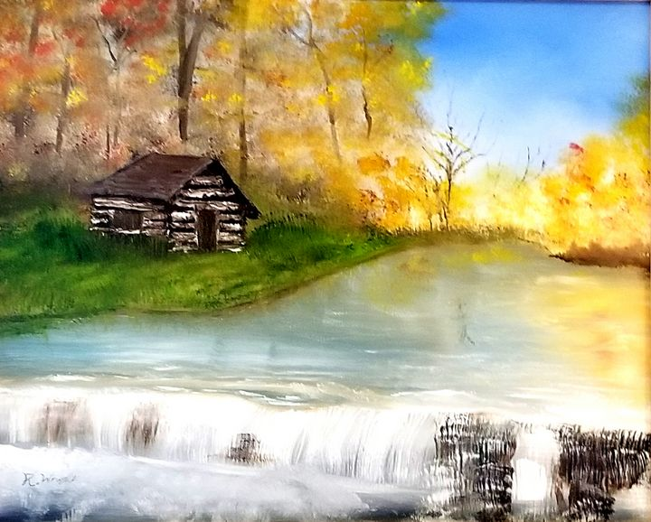 River Falls - Oil Paintings by R. Wright