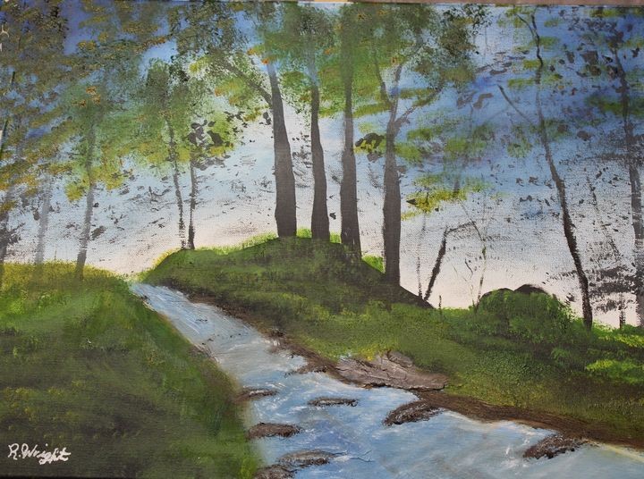 Quiet Stream - Oil Paintings by R. Wright