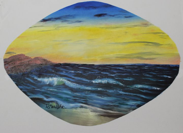 Sea Scape - Oil Paintings by R. Wright
