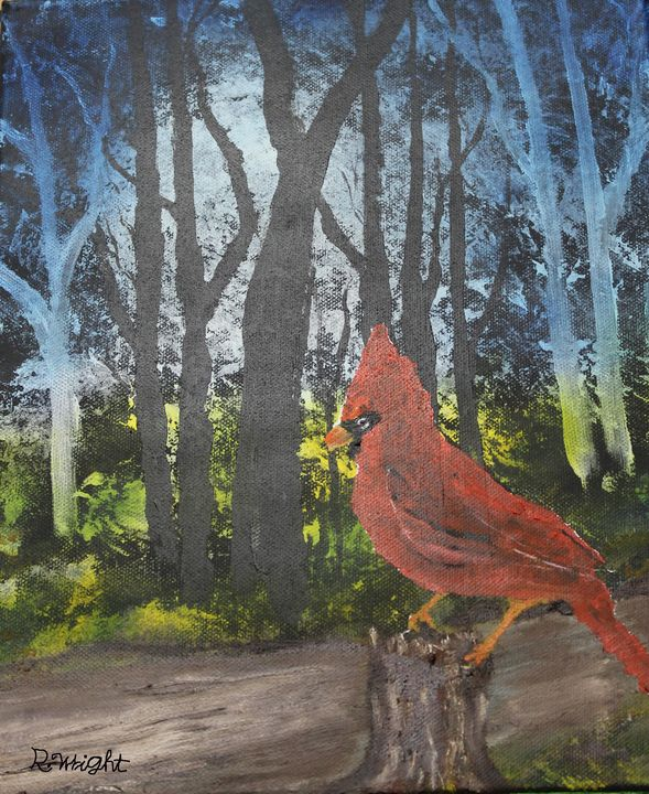 Morning Cardinal - Oil Paintings by R. Wright