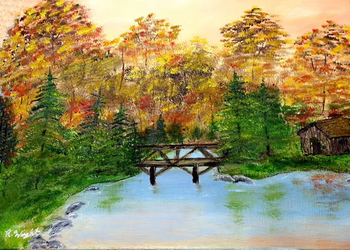Foot Bridge in the Fall - Oil Paintings by R. Wright