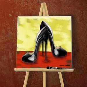 Black Stiletto Digital Art Painting