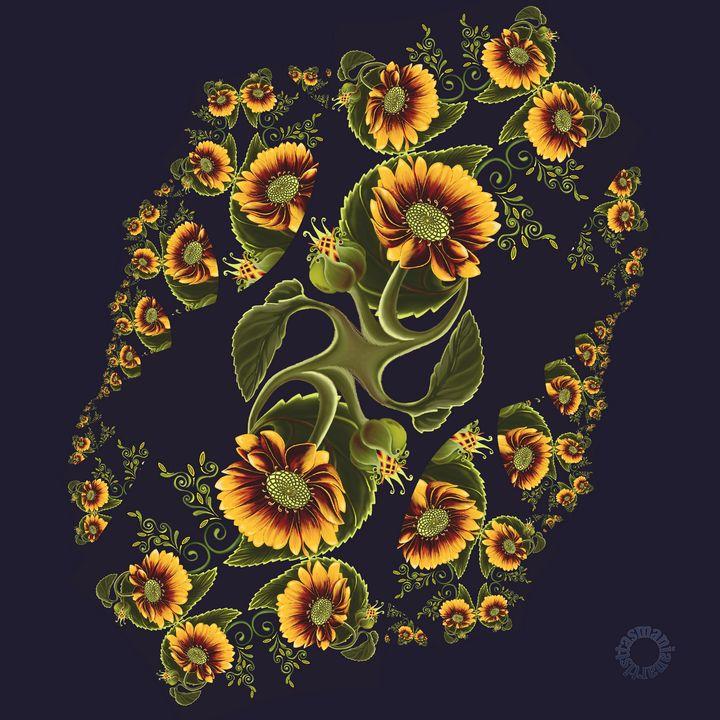 Sunflower Fractal Twist - tasmanianartist D1g1tal-M00dz