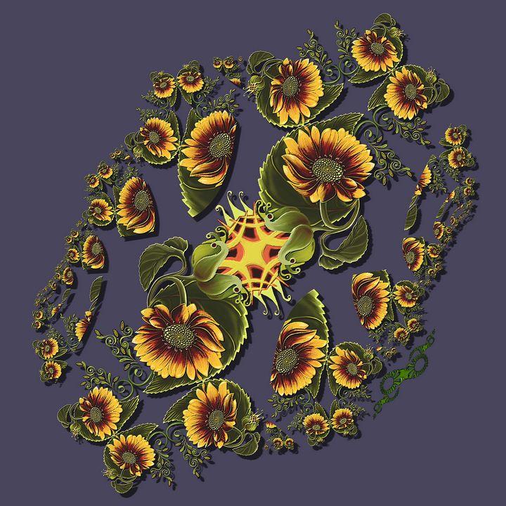 Sunflower Fractal Twist Variation - tasmanianartist D1g1tal-M00dz