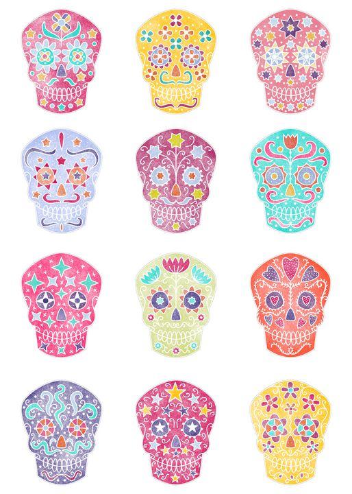Watercolor Mexican Sugar Skulls - Nic Squirrell