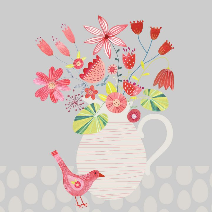 Bird with a Jug of Flowers - Nic Squirrell
