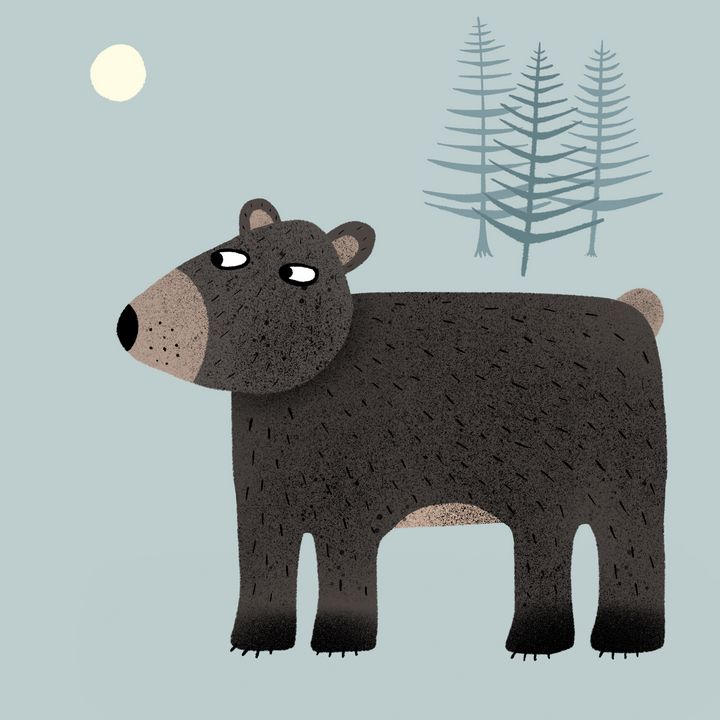 Bear, Trees and the Moon - Nic Squirrell