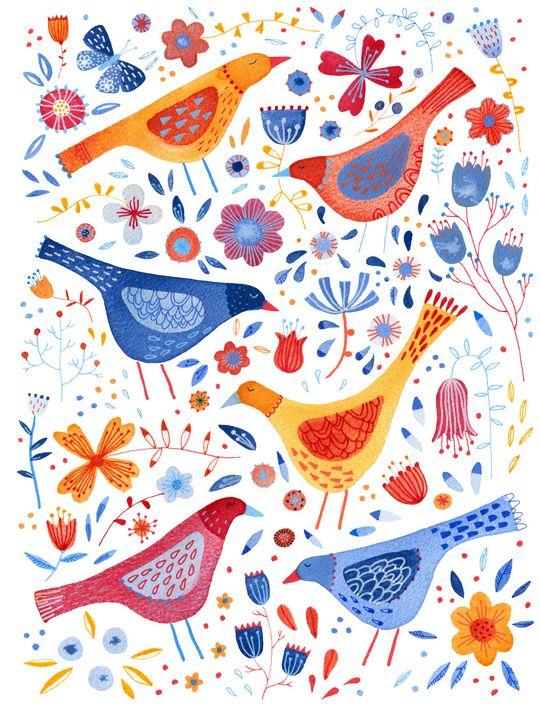 Garden Birds and Flowers - Nic Squirrell