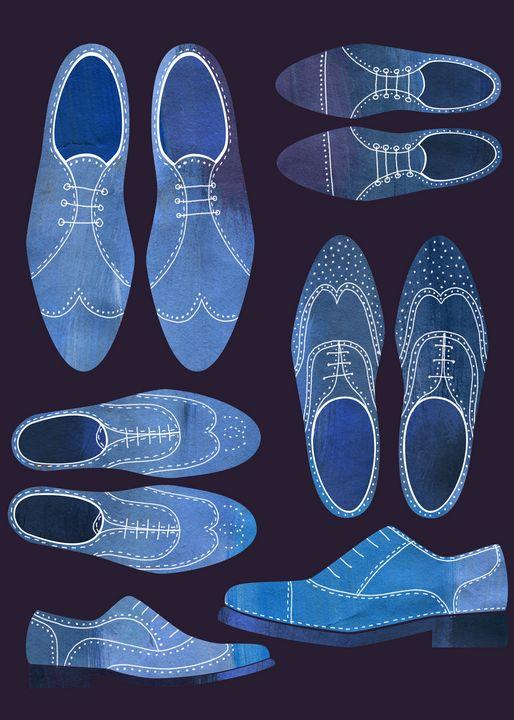 Blue Brogue Shoes Dark - Nic Squirrell