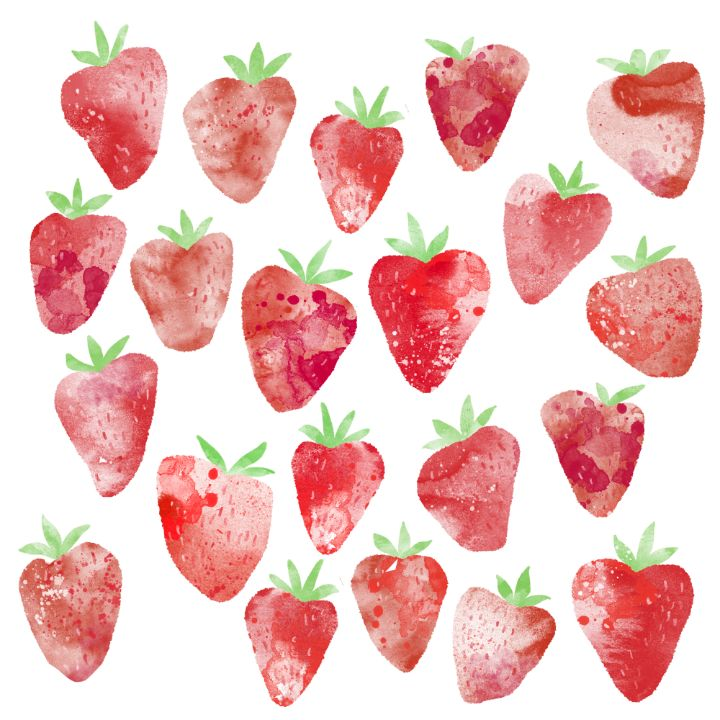 Strawberries Watercolor - Nic Squirrell