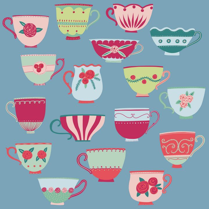 China Tea Cups on Teal - Nic Squirrell