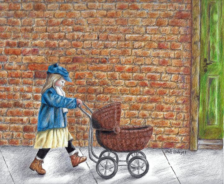 Girl with her doll buggy - Pat Badger