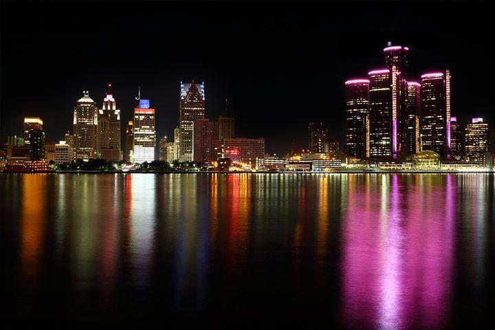 Pink Detroit Skyline - JVDA Photography