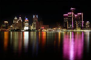 Pink Detroit Skyline