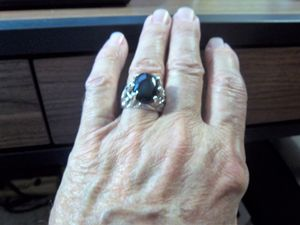 Sterling Silver Onyx men's nugget ri