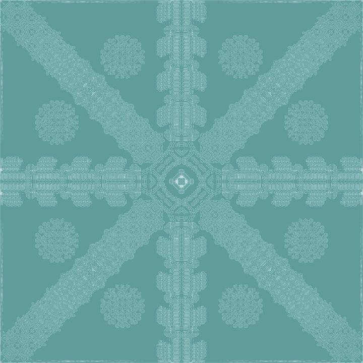Cyan Ink Snowflake - Ink Snowflakes