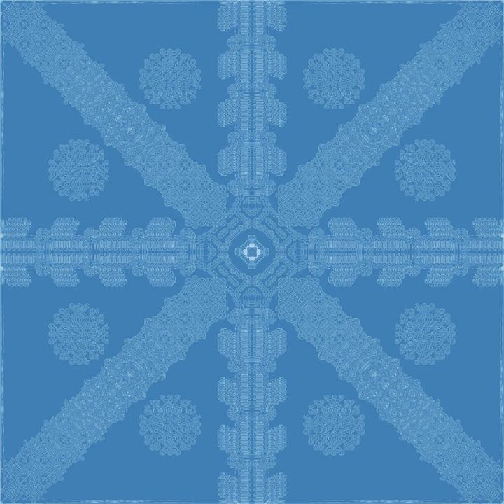 Cyan-Blue Ink Snowflake - Ink Snowflakes