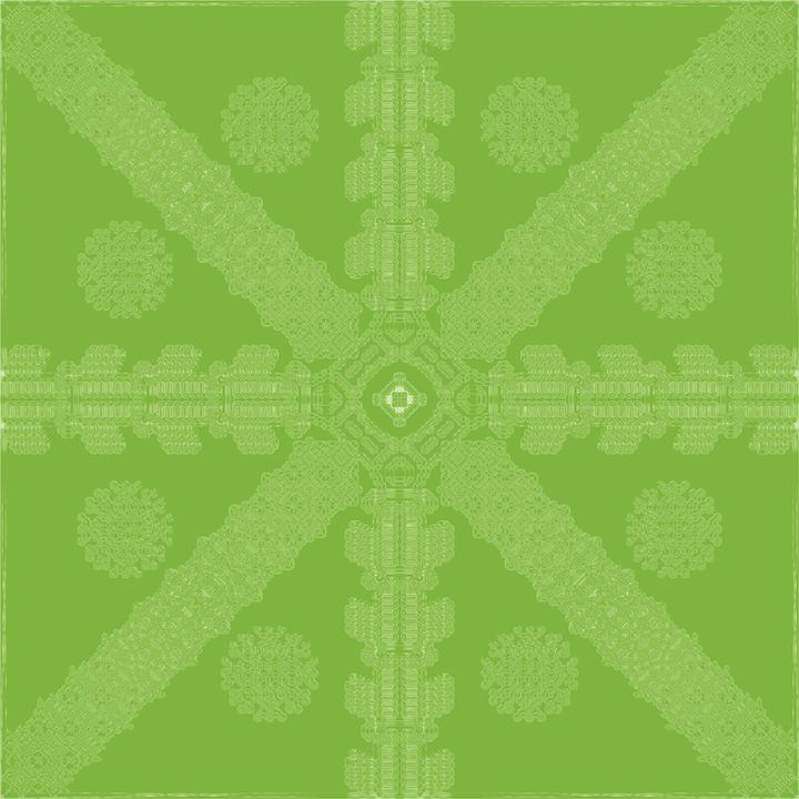 Green-Yellow Ink Snowflake - Ink Snowflakes