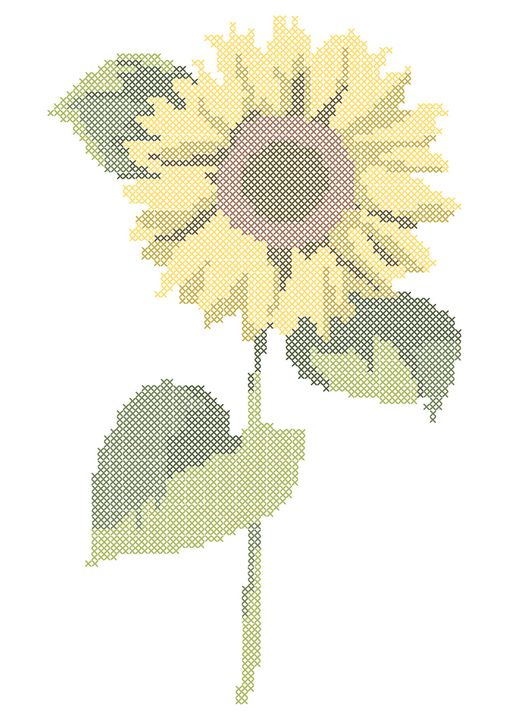 Cross stitch sunflower - Batte La Saba