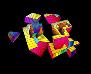Simulated 3-D Shapes Rainbow Colors