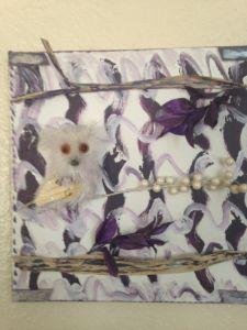 Pretty White Owl in Purple