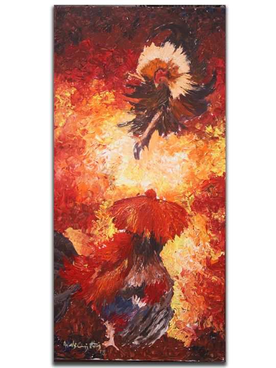 THE FINAL KICK ( cock fighting) - painting for sale