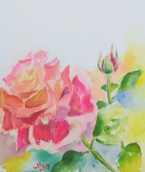 Rose watercolor SOLD - GeetaBiswas