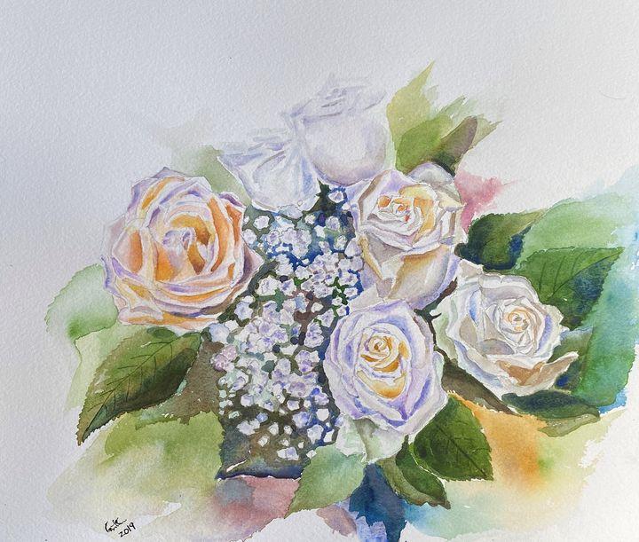 White Roses in watercolor - GeetaBiswas