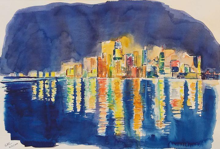 New York in the night from Hoboken - GeetaBiswas