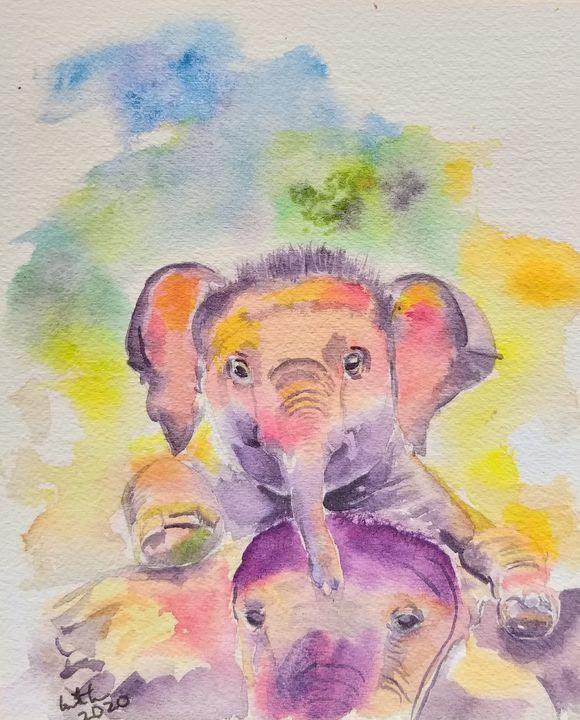 Baby Elephant, animal art - GeetaBiswas