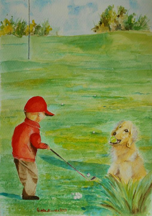 Everyhting Waits While I Golf Art - GeetaBiswas