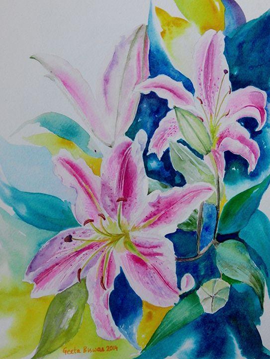 Stargazer Lilies flowers, still life - GeetaBiswas