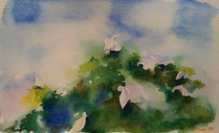 Egrets, impressionistic watercolor - GeetaBiswas