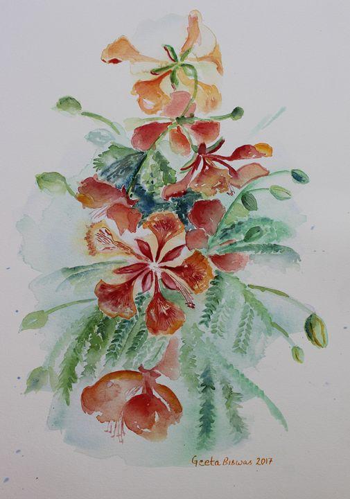 Red Flamboyant flowers still life - GeetaBiswas